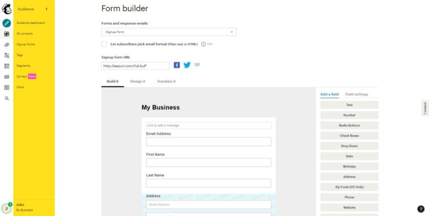 form builder mailchimp