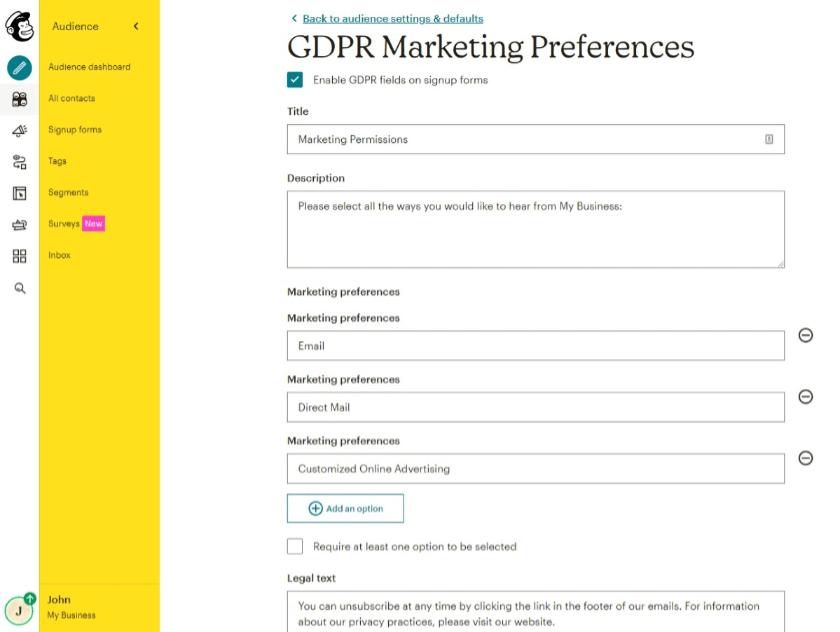 gdpr marketing preferences