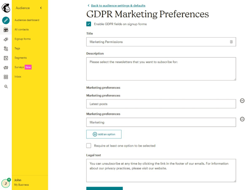 marketing preferences mailchimp