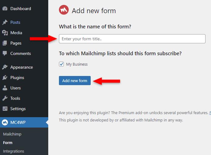 mailchimp form name in mc4wp plugin
