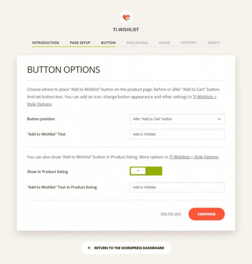 TI WooCommerce Wishlist plugin button options