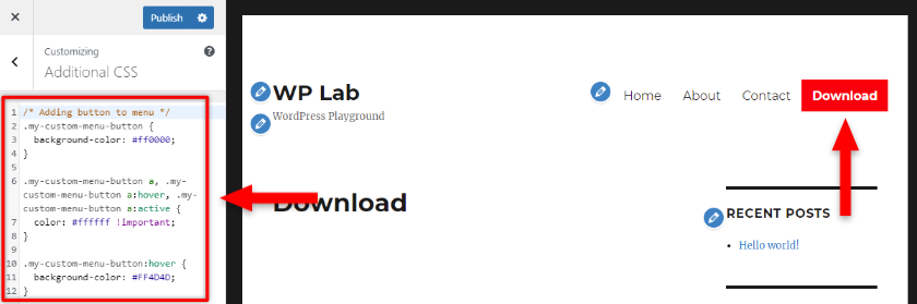 add button to wordpress menu with css