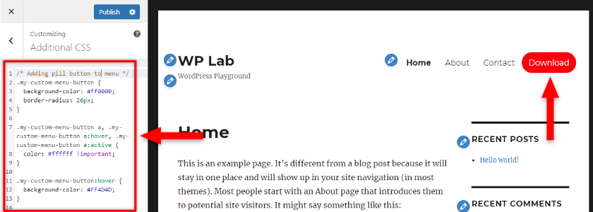 add pill button to wordpress menu with css