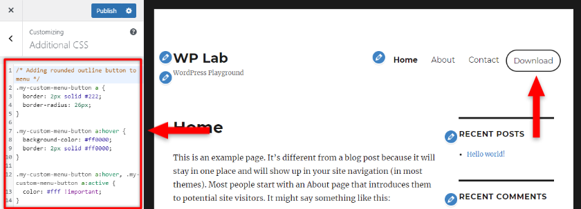 add outlinebutton to wordpress menu with css