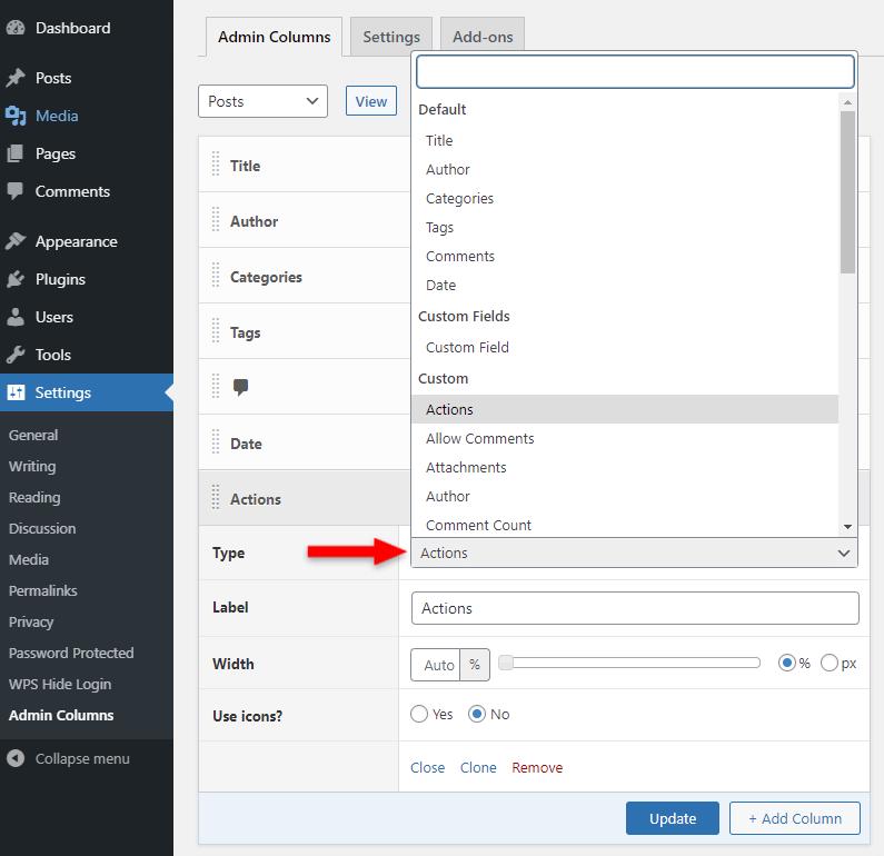 admin columns plugin actions