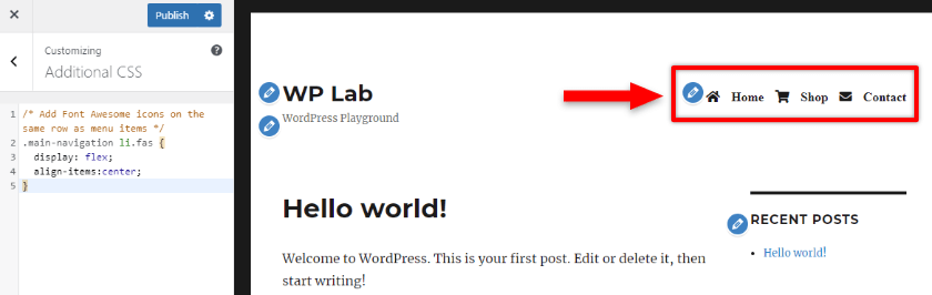 aligning font awesome icons with wordpress menu items