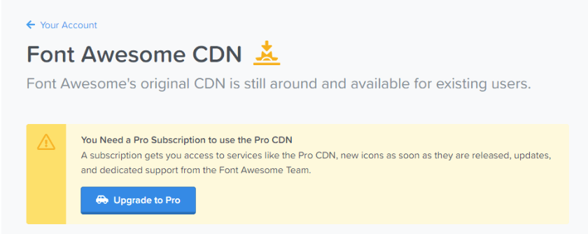 pro subscription required to use font awesome cdn