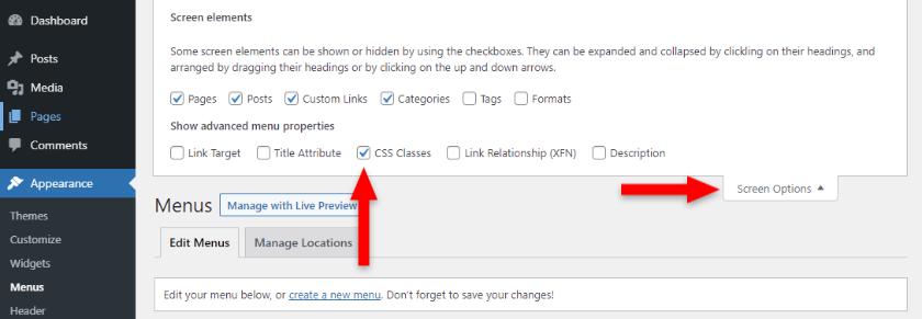 enable css classes in wordpress menu