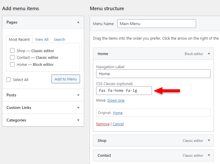 multiple font awesome classes added in the wordpress menu